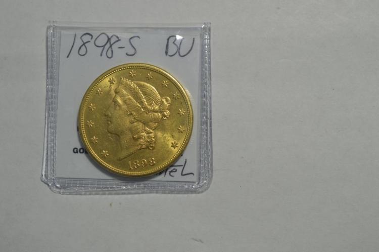 1898-S $20 Liberty Head Gold Double Eagle BU