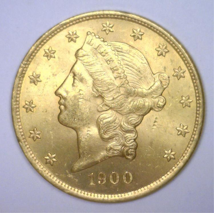 1900 $20 Liberty Gold Double Eagle BU MS62