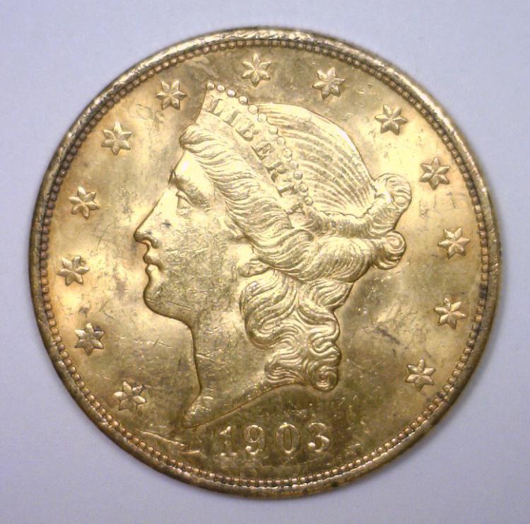 1903 $20 Liberty Gold Double Eagle BU MS62