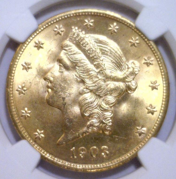1903 $20 Liberty Double Eagle Gold NGC MS-65