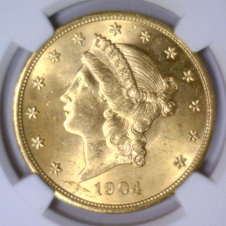 1904 $20 Liberty Double Eagle Gold NGC MS63