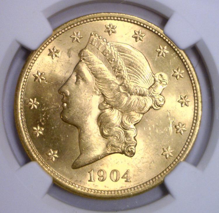 1904 $20 Liberty Double Eagle Gold NGC MS64