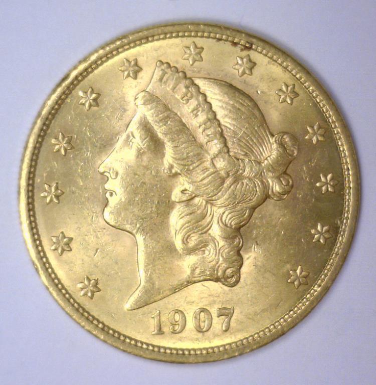 1907 $20 Liberty Gold Double Eagle BU MS62