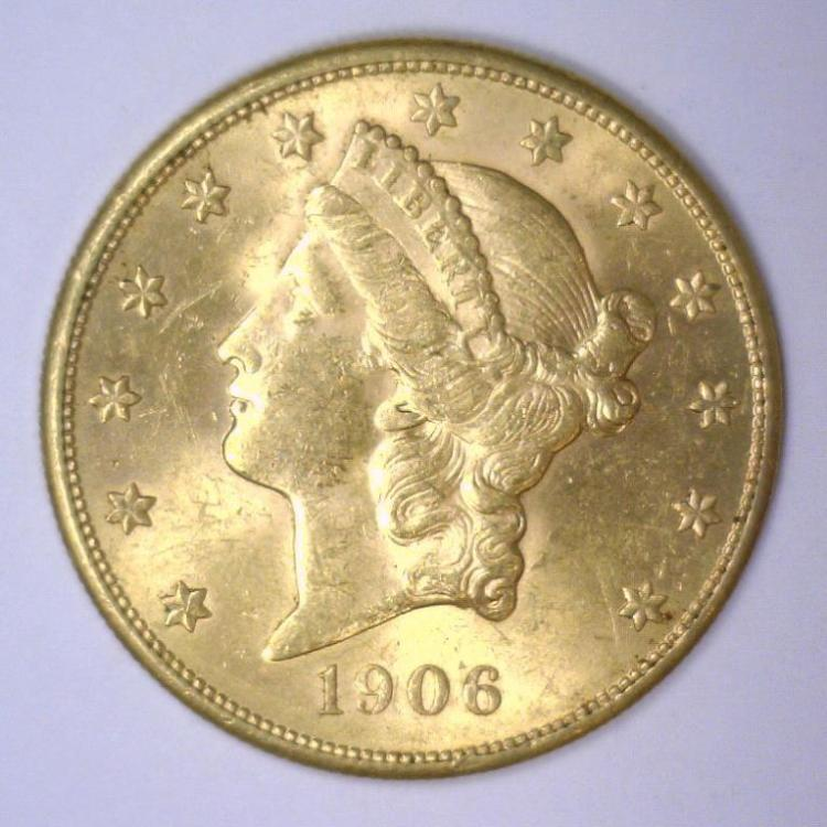 1906-S $20 Liberty Gold Double Eagle BU MS62+