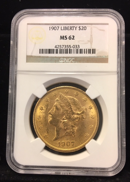 1907 $20 Gold Liberty Double Eagle NGC MS62