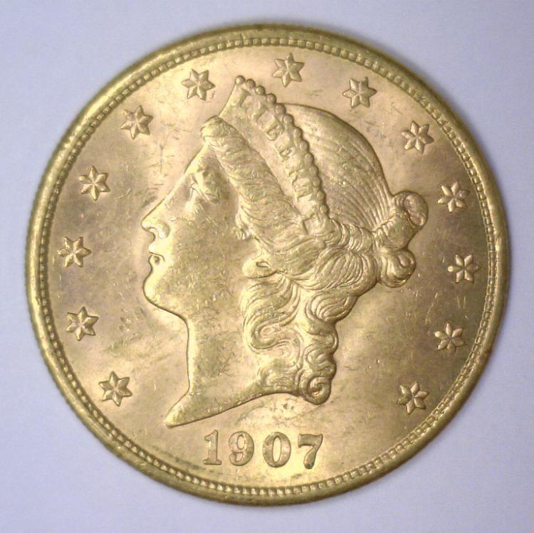 1907-S $20 Liberty Gold Double Eagle BU