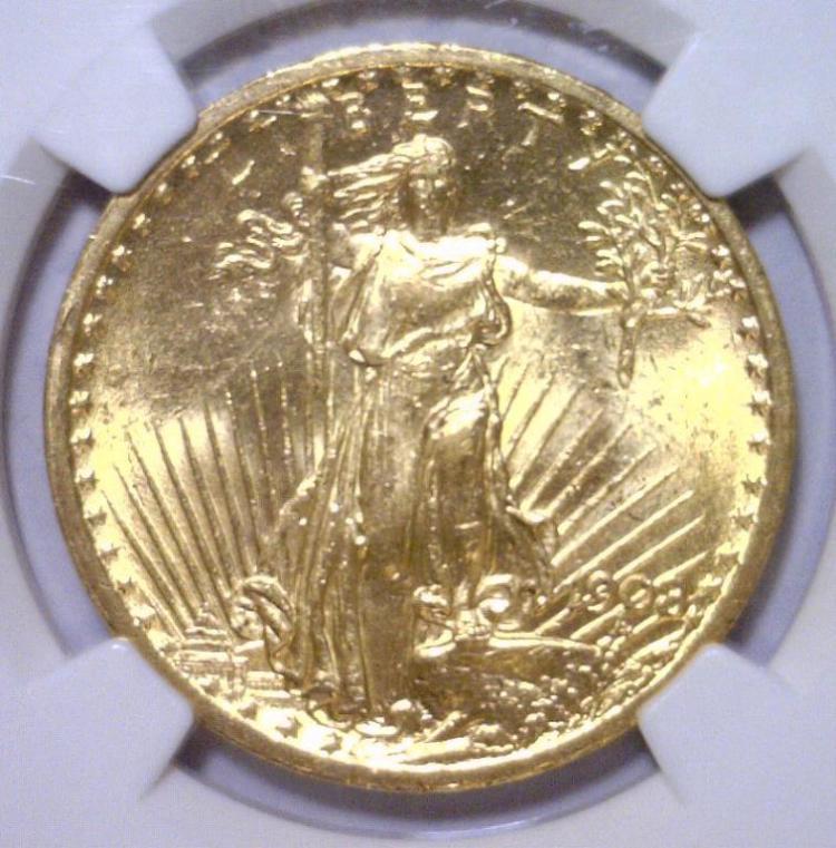 1908 $20 St Gaudens NO MOTTO Double Eagle NGC MS62