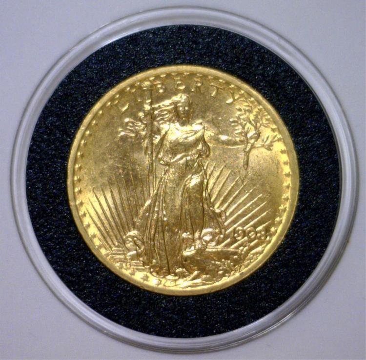 1908 $20 St. Gaudens No Motto Double Eagle BU