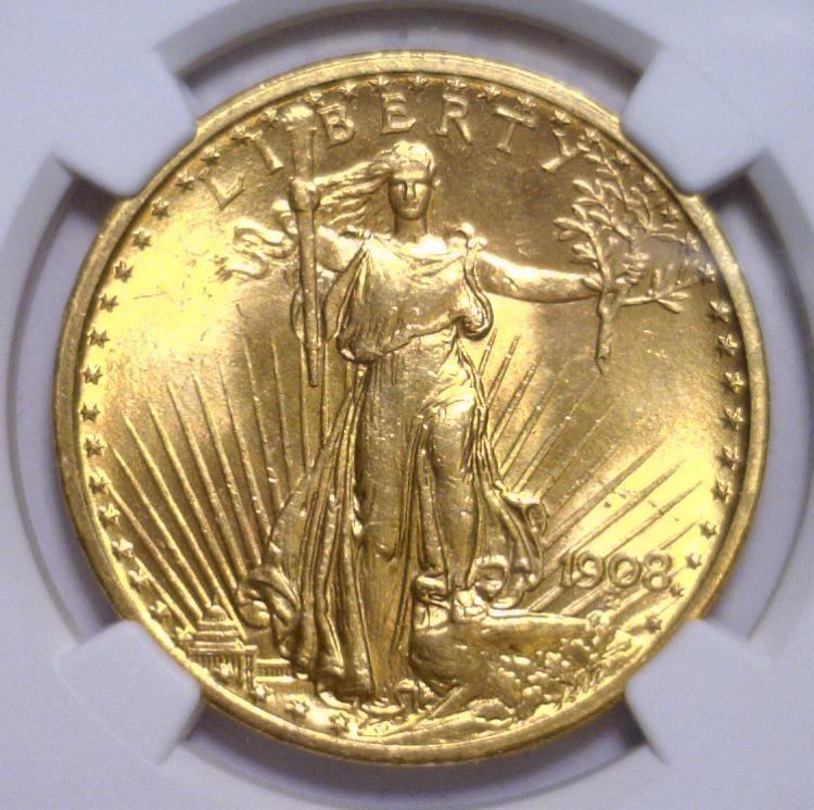 1908 NO MOTTO $20 St Gaudens Double Eagle NGC MS64