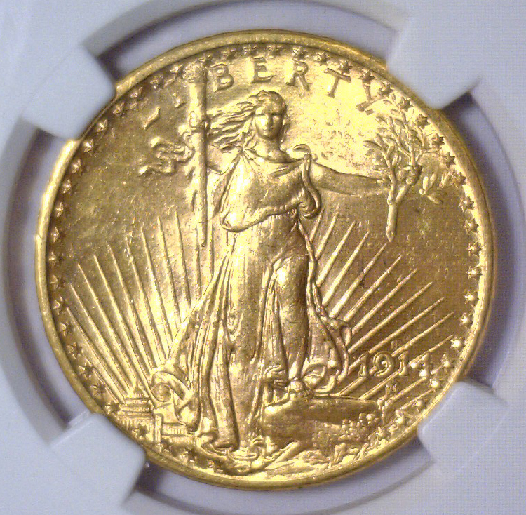 1914-S $20 St. Gaudens Gold Double Eagle NGC MS63