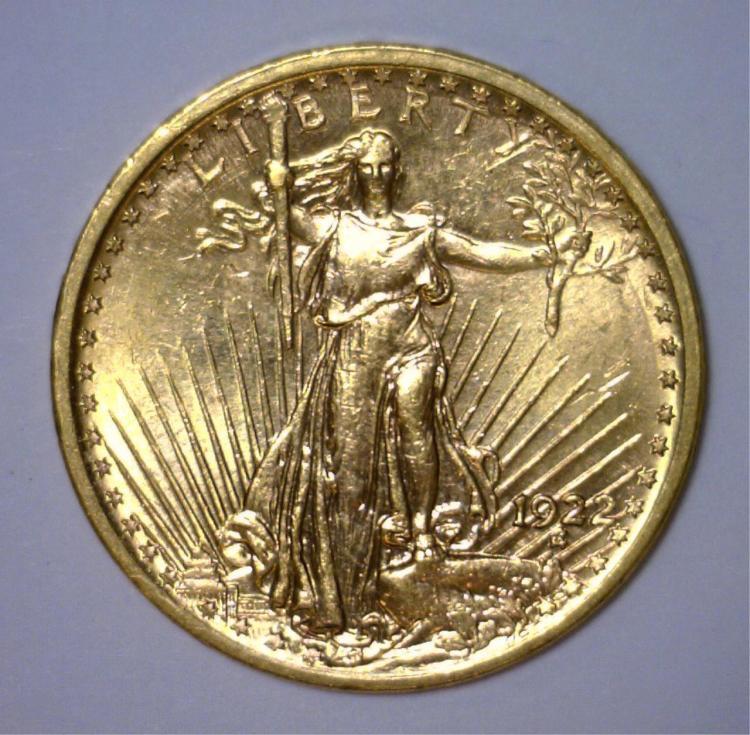 1922 $20 St. Gaudens Gold Double Eagle BU UNC