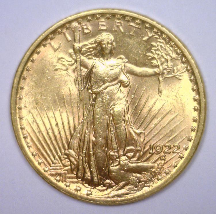 1922 $20 St. Gaudens Gold Double Eagle BU MS62