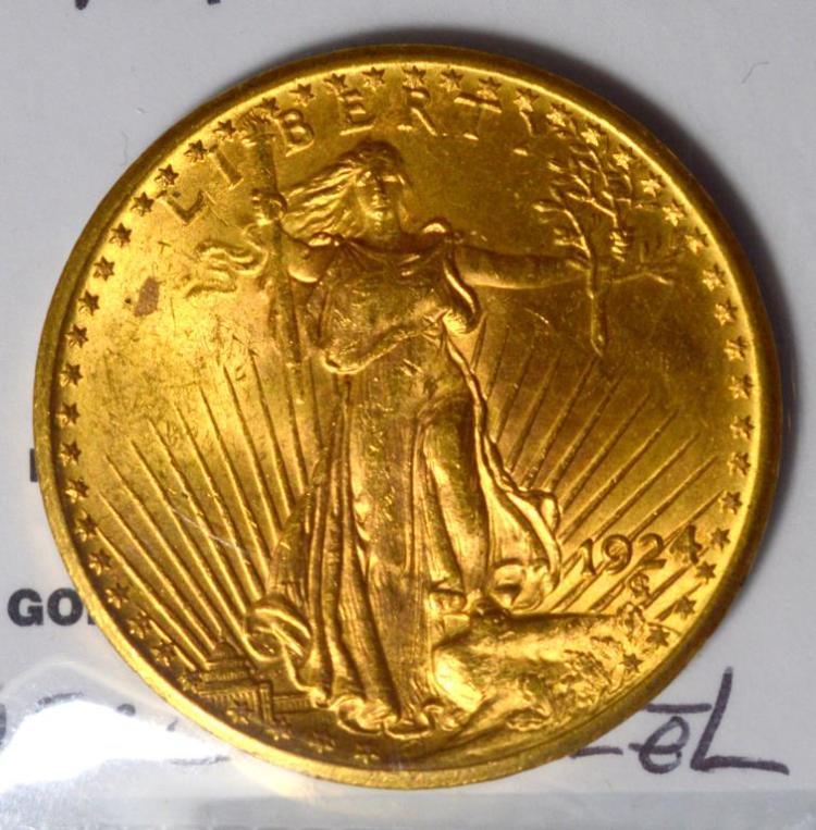 1924 $20 Saint Gaudens Gold Double Eagle BU