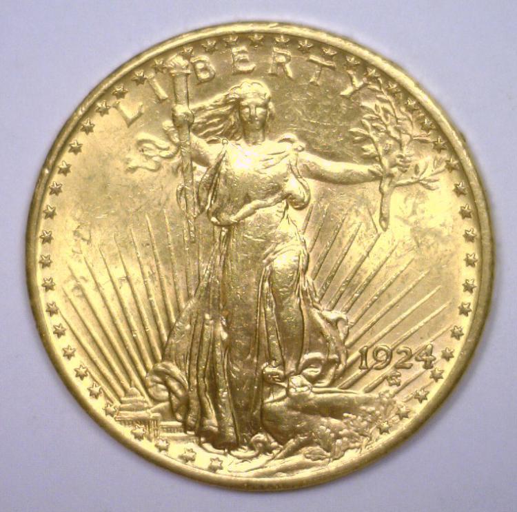 1924 $20 St. Gaudens Gold Double Eagle BU