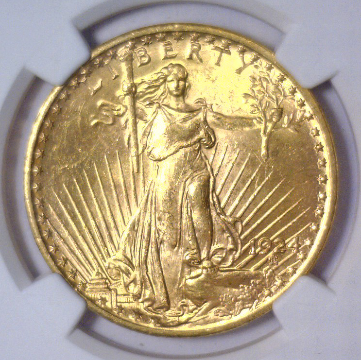 1924 $20 St. Gaudens Gold Double Eagle NGC MS62