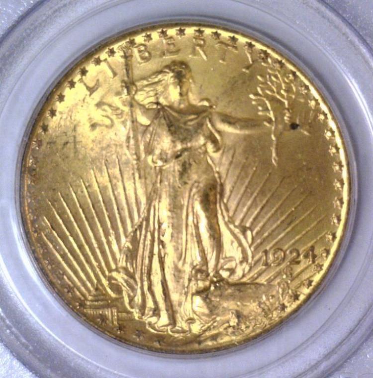 1924 $20 Saint Gaudens Double Eagle Gold PCGS MS62