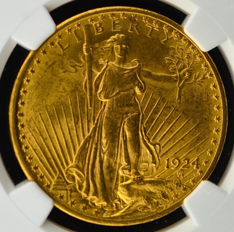 1924 $20 Saint Gaudens Gold Double Eagle NGC MS 62