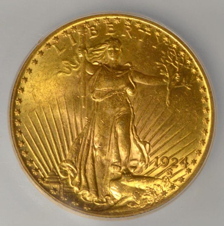 1924 $20 Saint Gaudens Gold Double Eagle ICG MS 63