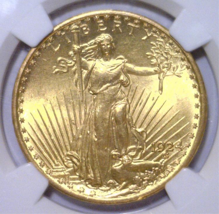 1924 $20 St Gaudens Gold Double Eagle NGC MS63