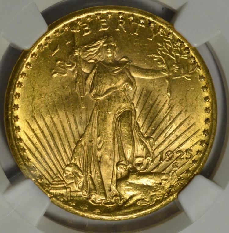 1925 $20 Saint Gaudens Gold Double Eagle NGC MS 62