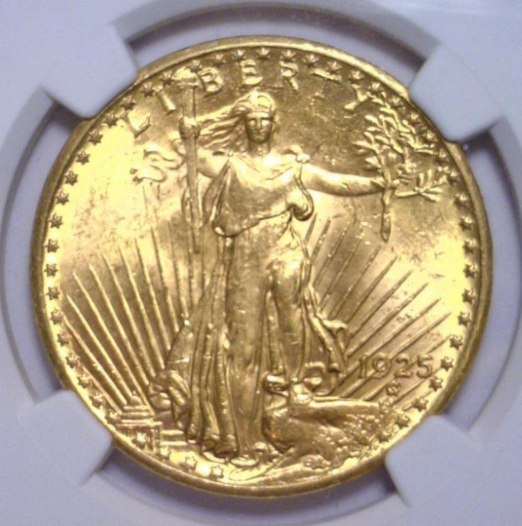 1925 $20 St. Gaudens Gold Double Eagle NGC MS62
