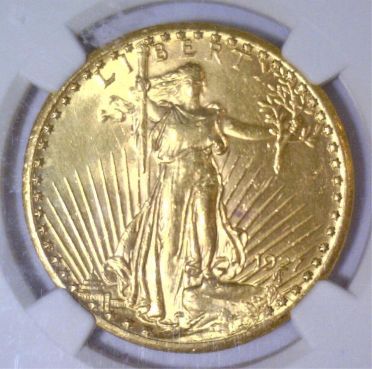 1927 $20 Saint Gaudens Double Eagle NGC AU Details