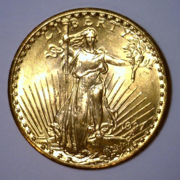1927 $20 St. Gaudens Gold Double Eagle BU UNC