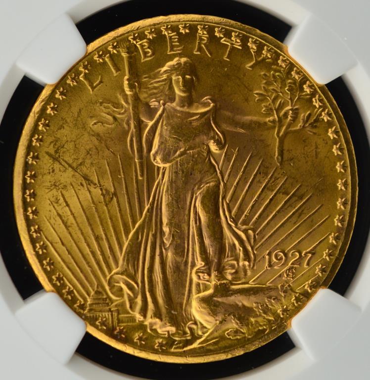 1927 $20 Saint Gaudens Gold Double Eagle NGC MS 62