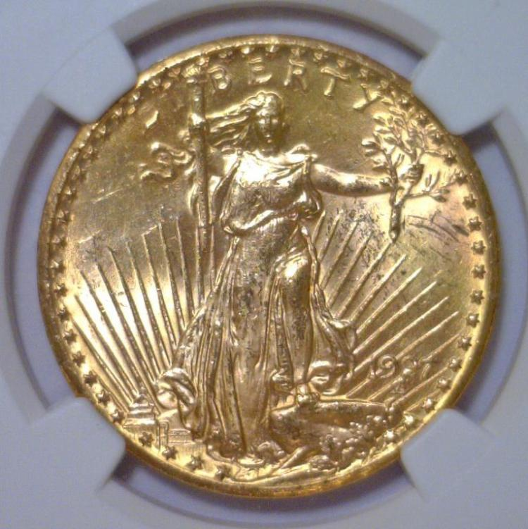 1927 $20 St. Gaudens Gold Double Eagle NGC MS63
