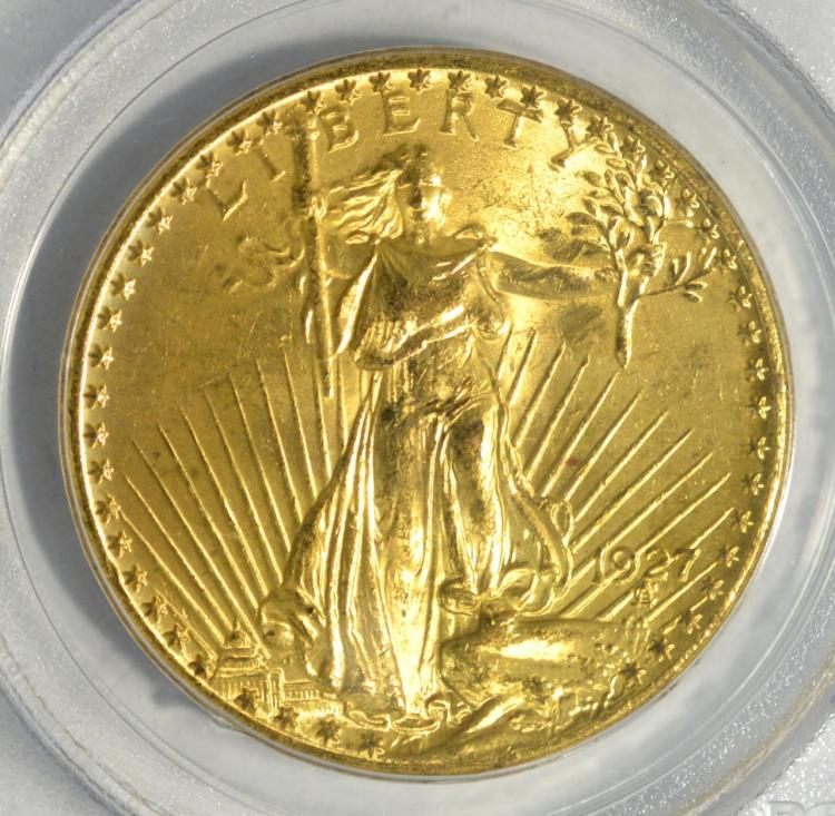 1927 $20 Saint Gaudens Gold Double Eagle PCGS MS62