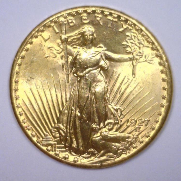 1927 $20 St. Gaudens Gold Double Eagle BU MS63