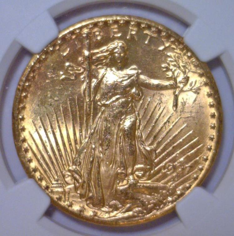 1927 $20 St. Gaudens Gold Double Eagle NGC MS63+