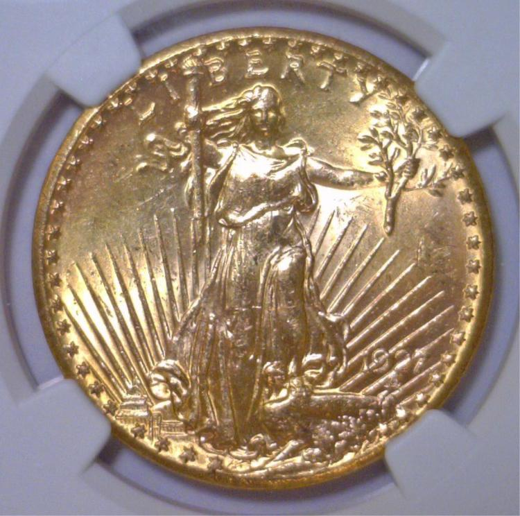 1927 $20 St. Gaudens Gold Double Eagle NGC MS64