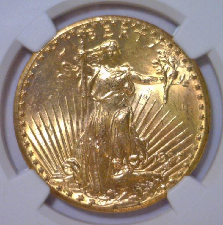 1927 $20 St. Gaudens Gold Double Eagle NGC MS64+
