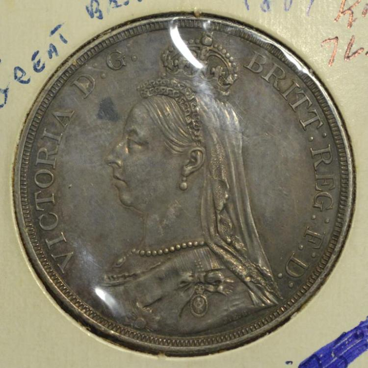 1887 Great Britain Silver 1 Crown XF
