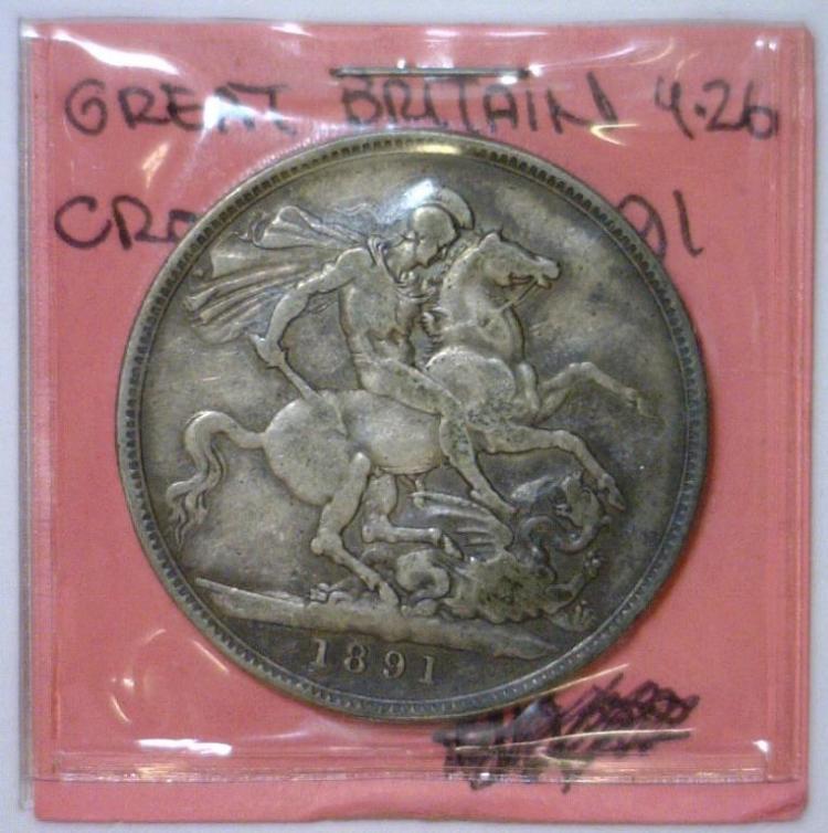 1891 Silver Crown Great Britain KM #765 Fine