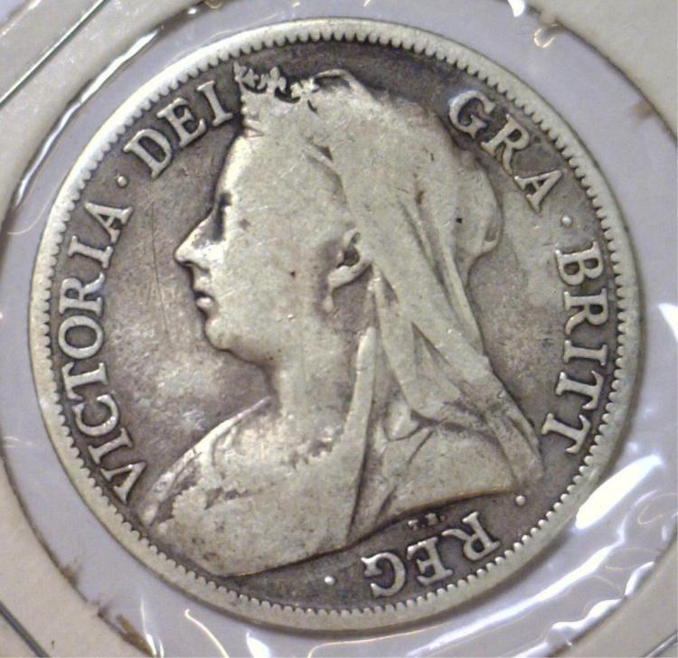 1895 Silver Half Crown Great Britain KM #782 Fine