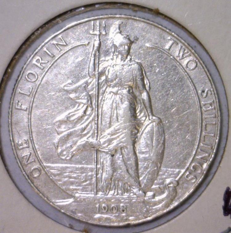 1908 Silver Florin Great Britain KM# 801 XF