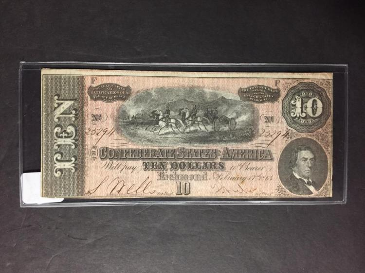 1864 $10 Confederate Note Richmond Feb. 17th AU