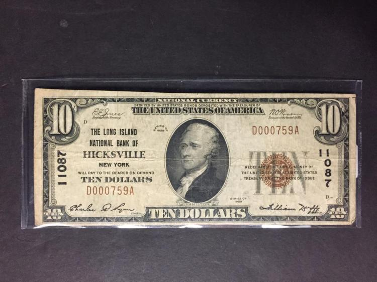 1929 $10 Long Island Natl. Bank of Hicksville NY F