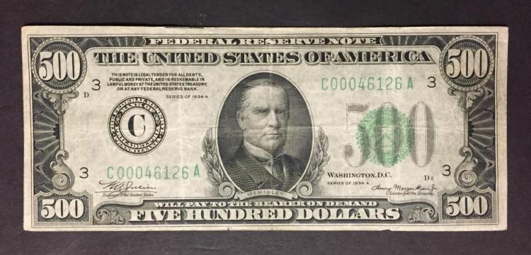1934-A $500 Federal Reserve Note Fine F