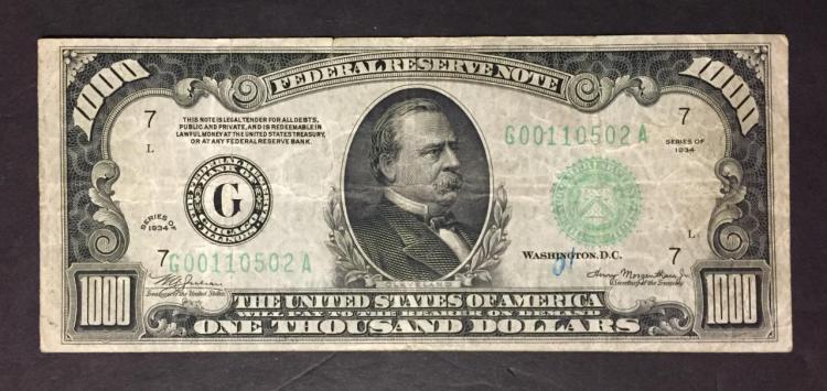 1934 $1000 Federal Reserve Note Fine F