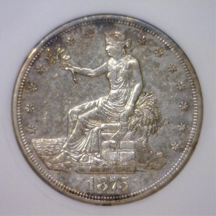 1875-S Trade Silver Dollar Small ANACS AU50 Detail