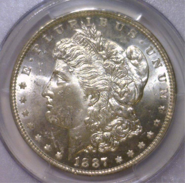 1887 Morgan Silver Dollar PCGS MS63