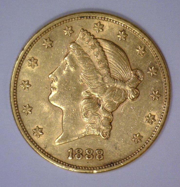 1888 $20 Liberty Head Gold Double Eagle AU