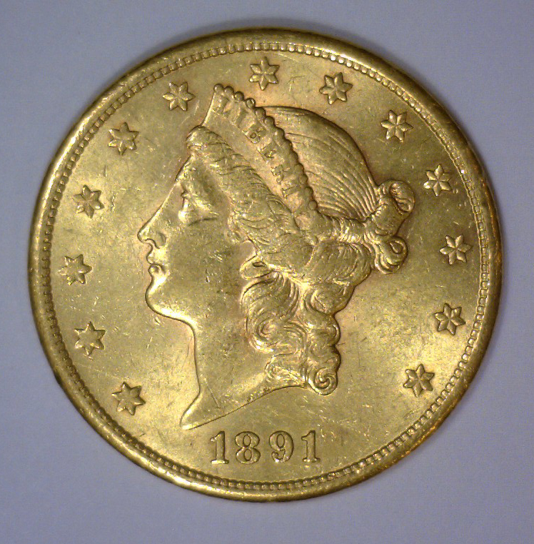 1891-S $20 Liberty Head Gold Double Eagle AU+