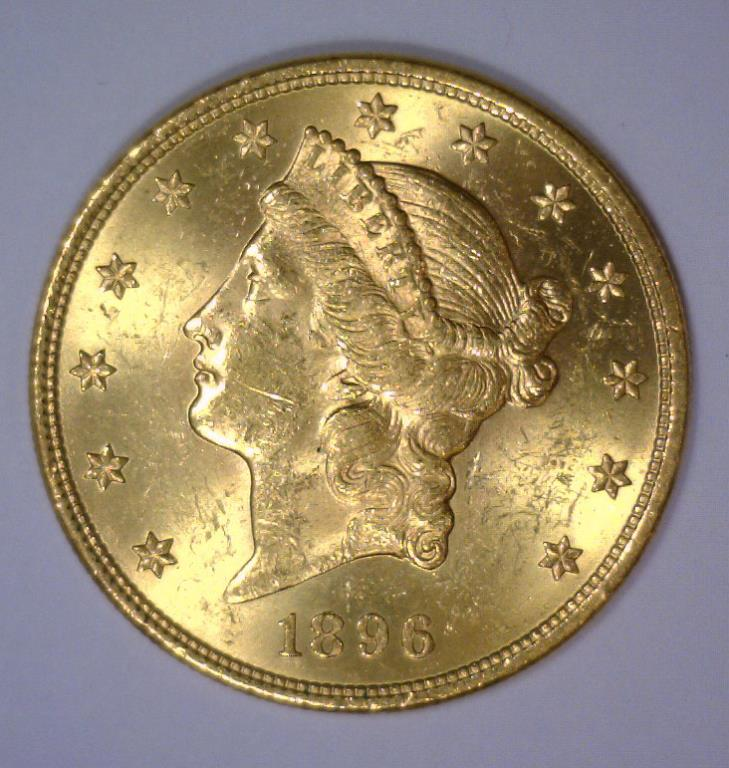 1896 $20 Liberty Head Gold Double Eagle BU UNC