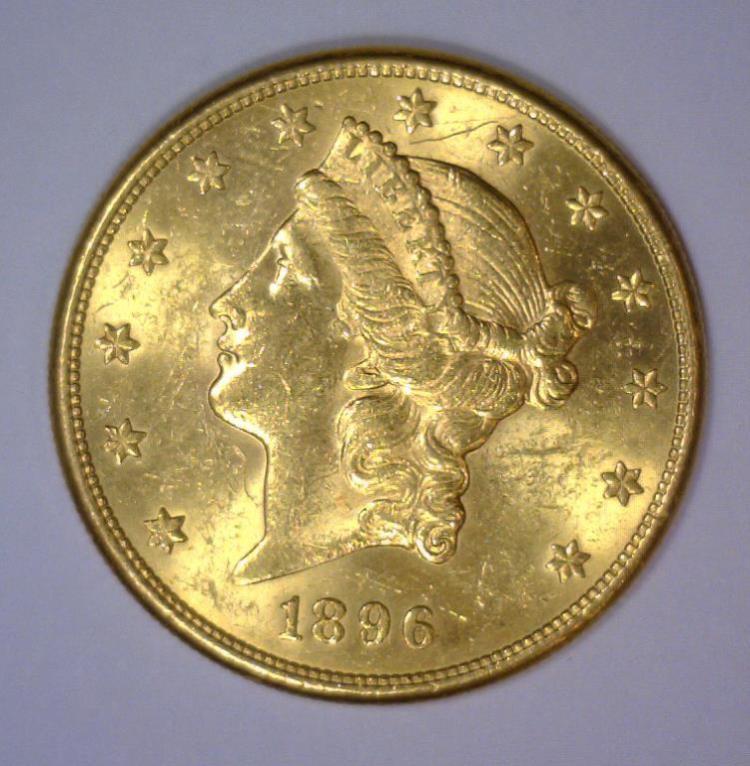 1896-S $20 Liberty Head Gold Double Eagle BU UNC