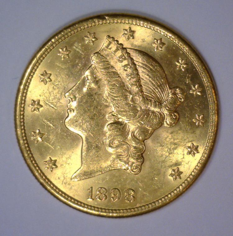 1898-S $20 Liberty Head Gold Double Eagle BU UNC