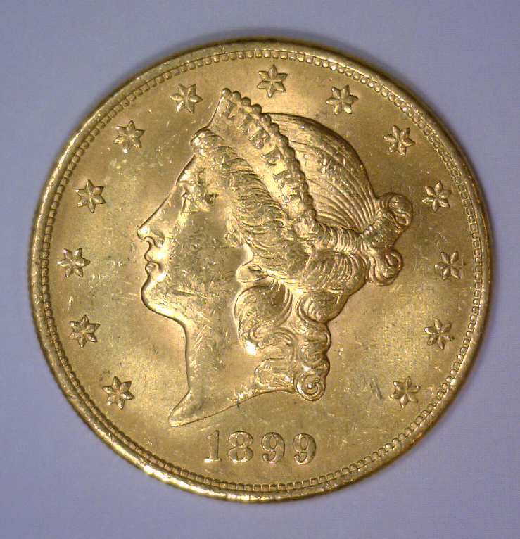 1899 $20 Liberty Head Gold Double Eagle BU UNC